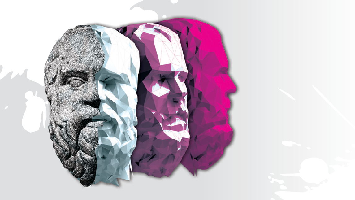 bust of Socrates the philosopher in three shades
