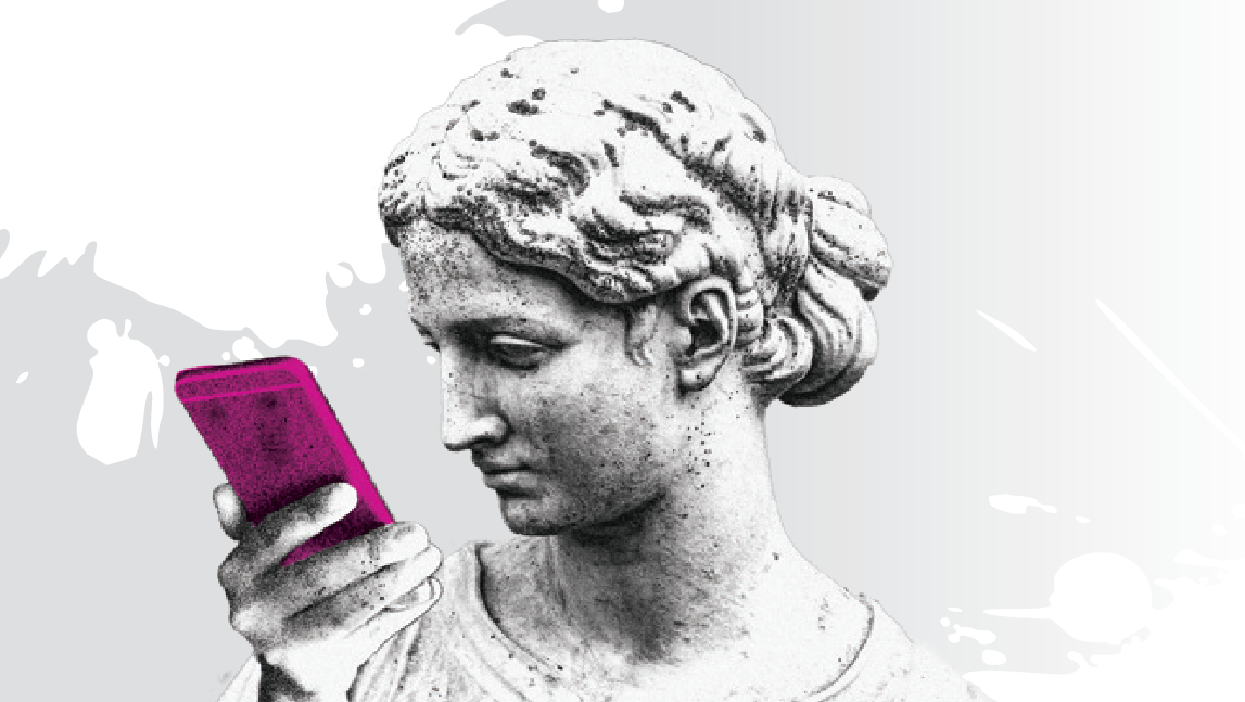 female statue holding a pink phone