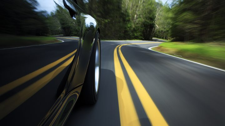 black car driving
